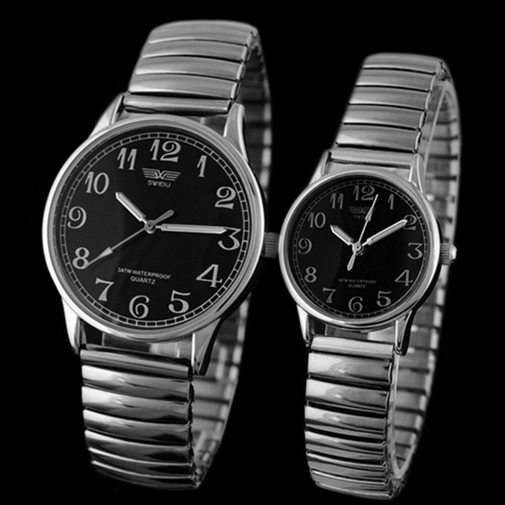 Men's Women's Couple Lover Elastic Alloy Quartz Couple Watch Fashion Analog Wrist Watch Men Fashion