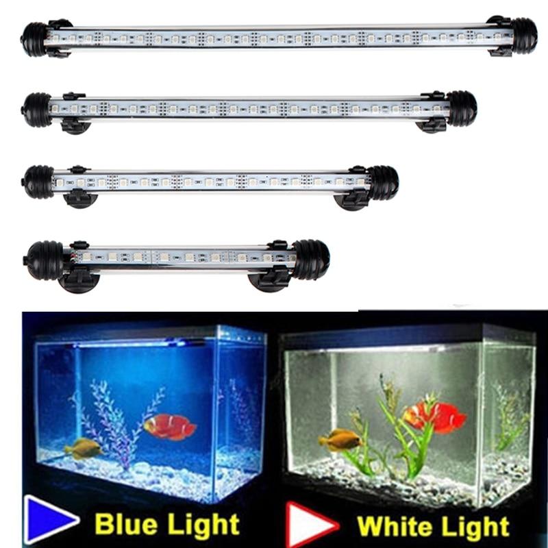 Luces LED impermeables para acuario, barra de luces para pecera azul/blanco 18/28/38/48CM, lámpara sumergible con Clip bajo el agua, decoración acuática EU