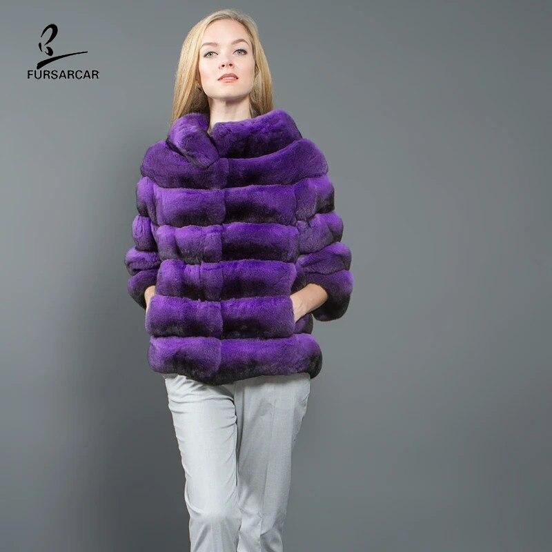 FURSARCAR 2020 New Chinchilla Fur Natural Real Rex Rabbit Coat Winter Women  Warm Purple Genuine Jacket With Collar