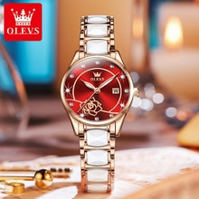 OLEVS Luxury Women Watches Fashion Ceramic Band Elegant Ladies Watch Luminous Hand Calendar Casual D
