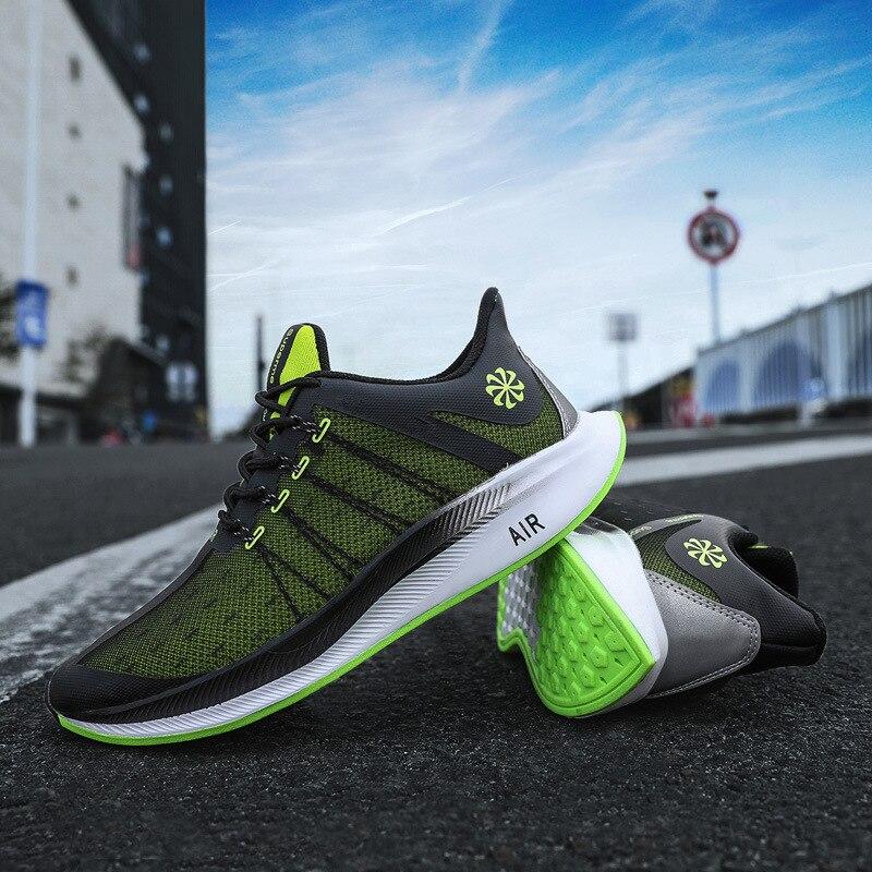 Al aire libre otoño naranja verde Flyknit Lunar Running Shoes hombres Marathon Athletic Shoes transpirable Bounce luz zapatillas correr hombre