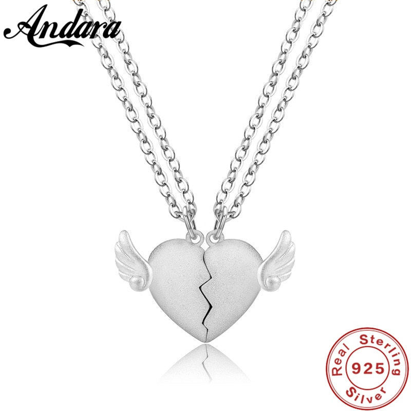 Silver Lovers' Jewelry Set 925 Sterling Silver Jewelry Heart  Necklace Set Women Men Couple Gifts