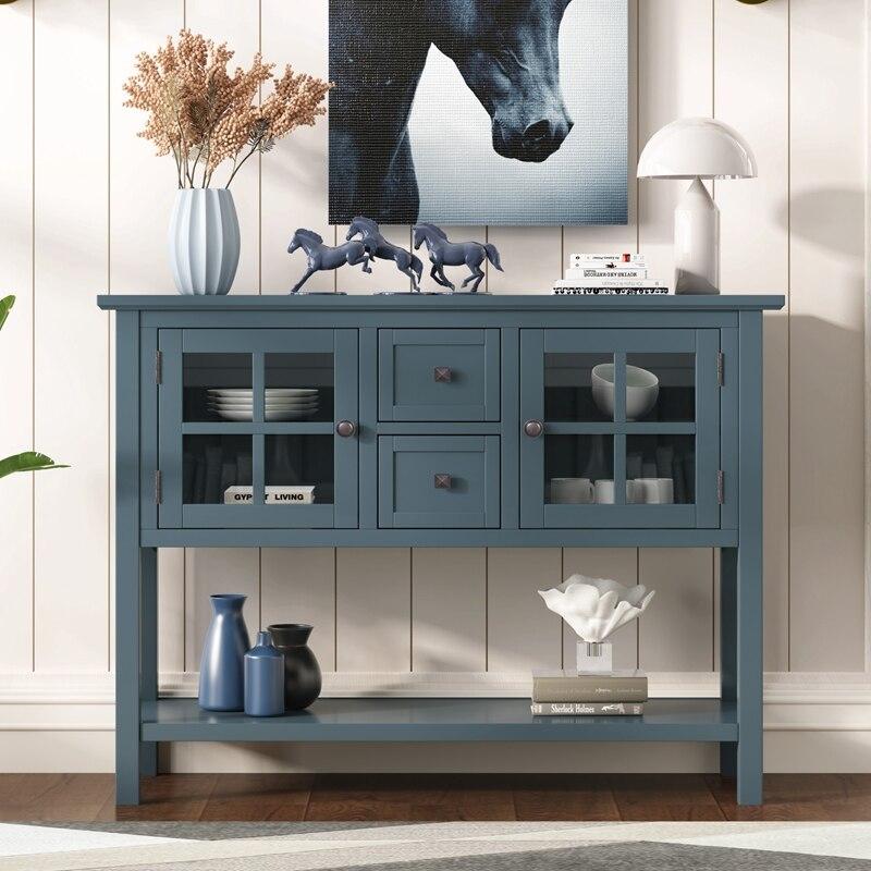 45 ''الحديثة طاولة وحدة التحكم أريكة الجدول لغرفة المعيشة مع 2 أدراج ، 2 خزائن و 1 الجرف