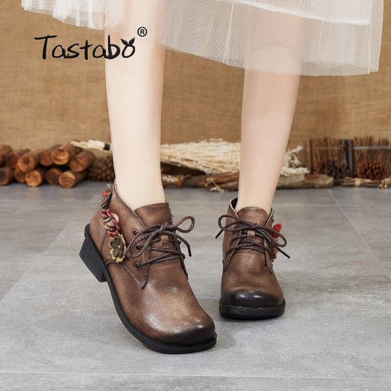 تاستابو جلد طبيعي السيدات الأحذية العارية خمر نمط العرقية المرأة الأحذية البني رمادي S88202 عدم الانزلاق مريحة مسطحة القاع