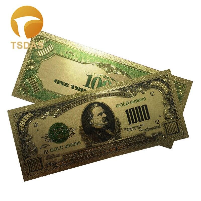 10 шт./лот 1918 лет США 24k золотые банкноты Позолоченные 1000 долларов США банкноты