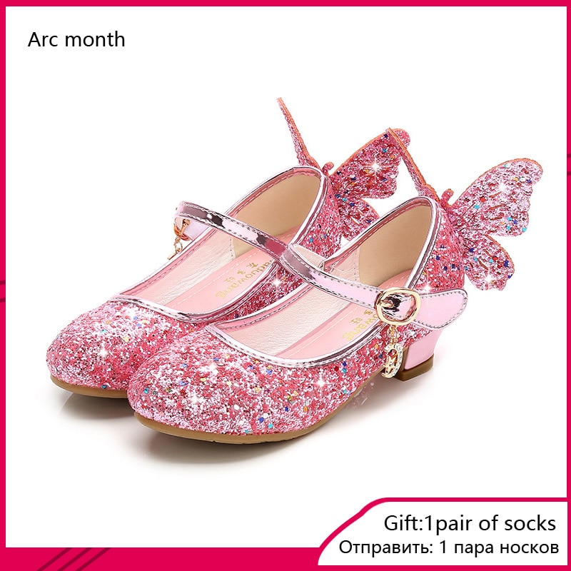 2020 Princess Kids Leather Shoes for Girls Flower Casual Glitter Children High Heel Girls Shoes Butt