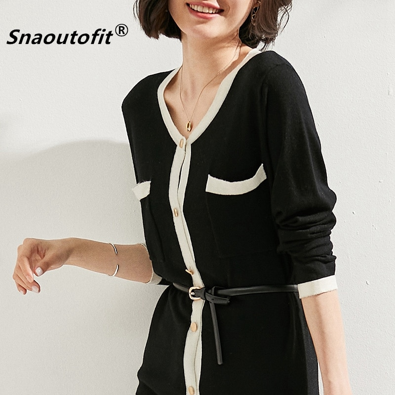 Snaoutofit  Mid-Length Knitted Cardigan Women's Light Luxury New Loose Temperament Pure Wool Black White Stitching Color Coat enlarge