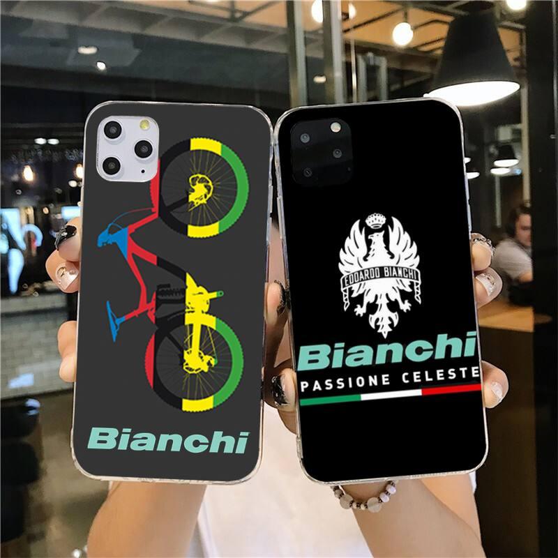 Bianchi vélo Logo équipe de vélo noir coque de téléphone souple pour iPhone 11 pro XS MAX 8 7 6 6S Plus X 5S SE 2020 XR couverture