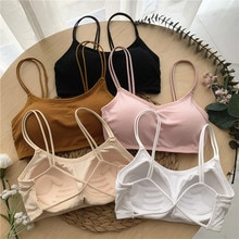 Summer Korean Style Simple Solid Color Sexy Beauty Back Underwired Padded One-piece Bra Women's Cami