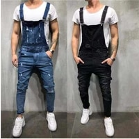 2021 fashion mens ripped jeans jumpsuit ankle length ripped slim fit long denim overalls hip hop mens overalls