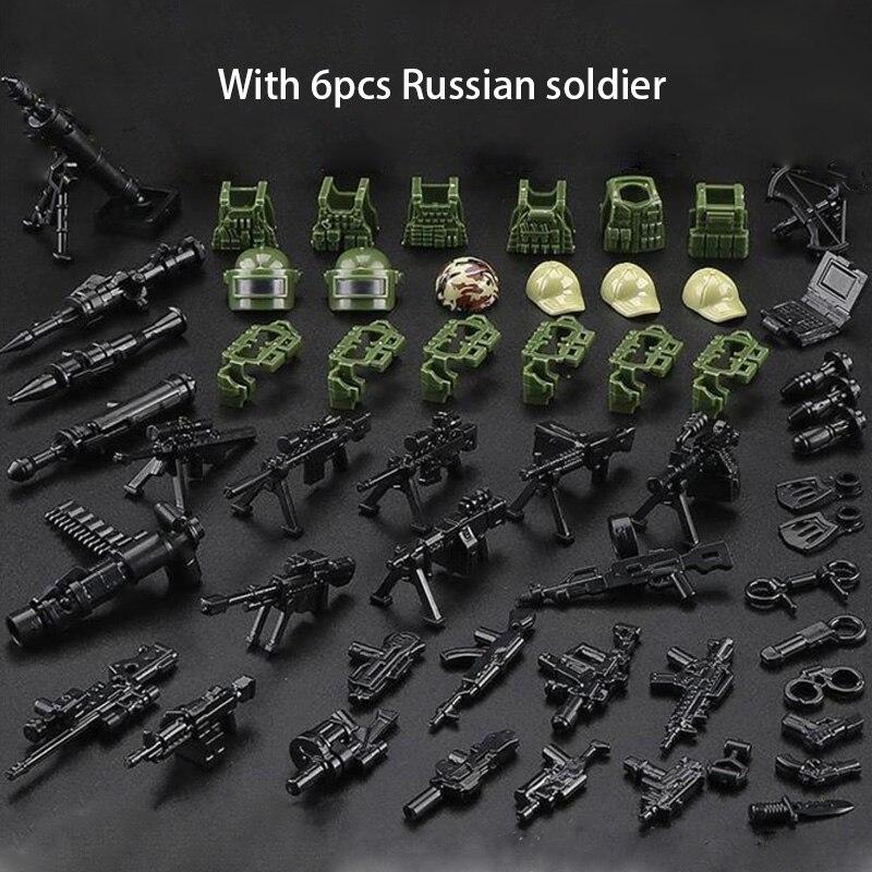 ¡Nuevo! Figuras militares de ladrillos de 6 uds., figuras rusas Alpha Force SWAT, soldado de camuflaje del ejército, bloques de construcción, figuras de ladrillo, juguetes de regalo