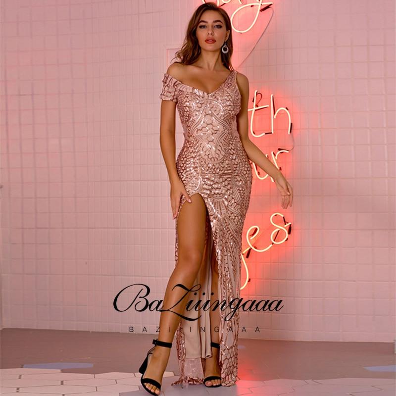 BAZIIINGAAA فساتين سهرة الشاطئ ثوب طويل امرأة 2021 الترتر Vestidos دي ديسكتيكا الحفلات مثير براق حفلة موسيقية رداء حفلات