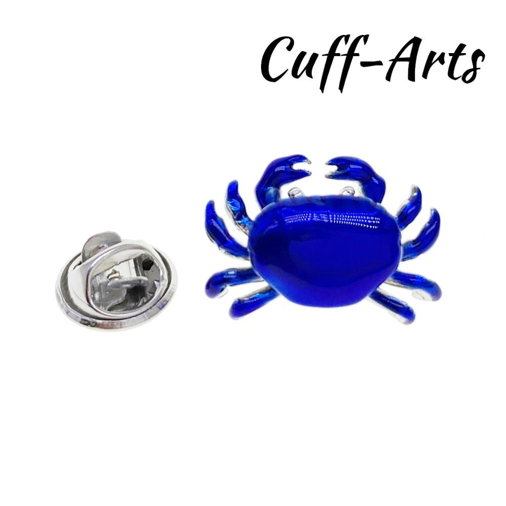 Revers Pin Abzeichen für Männer Blau Krabben Revers Pin Abzeichen Mode Broschen Neuheit Revers Pin Durch Cuffarts P10392