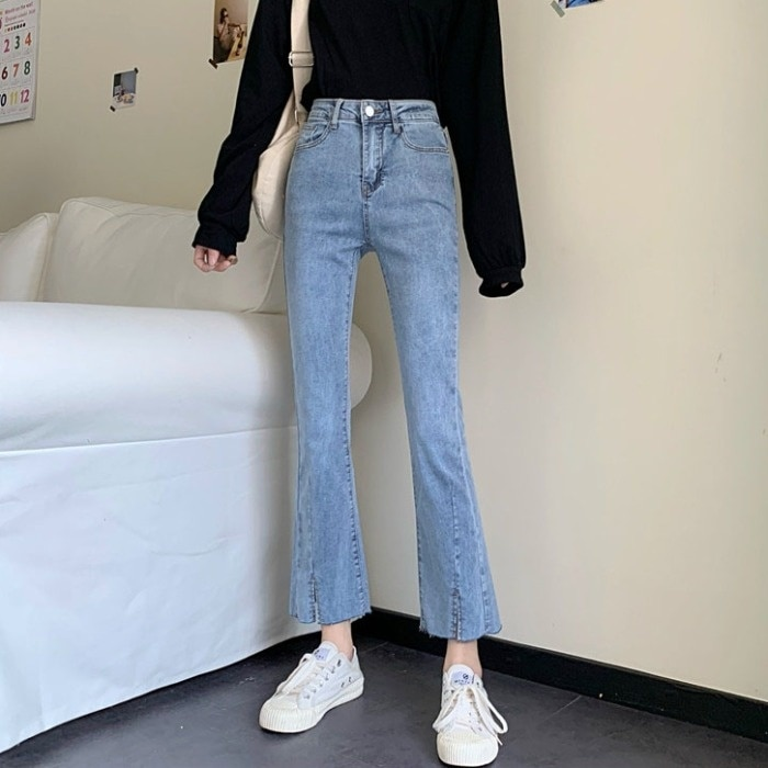 Micro Flared Jeans Women's Spring And Autumn Small High Waist Straight Slim Fit Light Color Split Fl