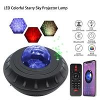 led colorful starry sky galaxy projector nightlight child blueteeth usb music player star night light romantic projection lamp