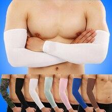 1Pair Unisex Ice Silk Arm Sleeves UV Sun Protection Tattoo Cover Sport Basketball Armband Men Women Arm Cuffs Summer