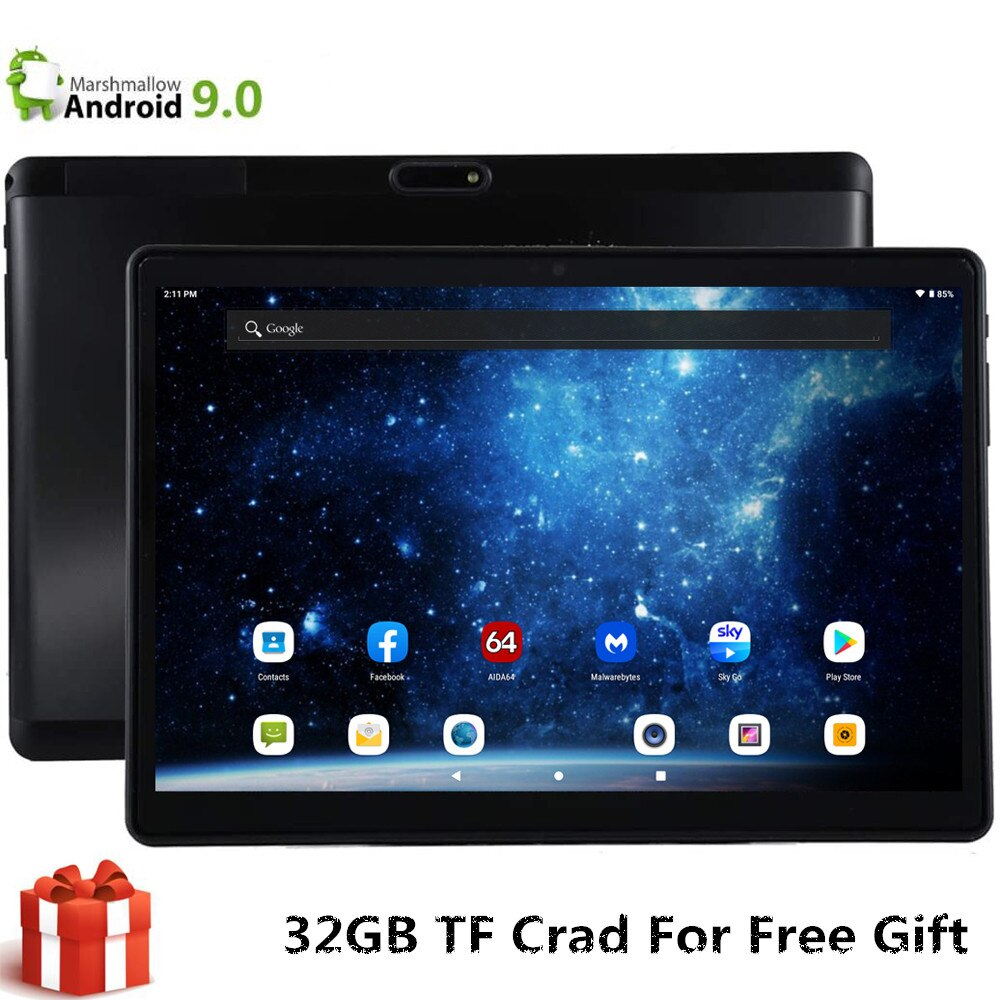 S119 EMMC de 32GB + 32GB TF 10 pulgadas Tablet Global 4G LTE Wifi Bluetooth Phablet Android 9,0 MTK tarjeta SIM Dual 2.5D Tablet CE banda