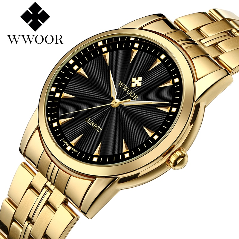 WWOOR Top Brand Luxury Gold Watches For Men Stainless Steel Casual Business Quartz Mens Wrist Watch Waterproof Relogio Masculino keep moving women top famous brand luxury casual quartz watch rose gold women water stainless steel wrist watches relogio