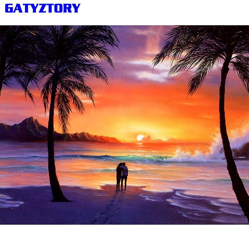 Gatyztory marco pintura de DIY por números de los amantes en Playa Sunset lona por número de arte pintura 60x75cm