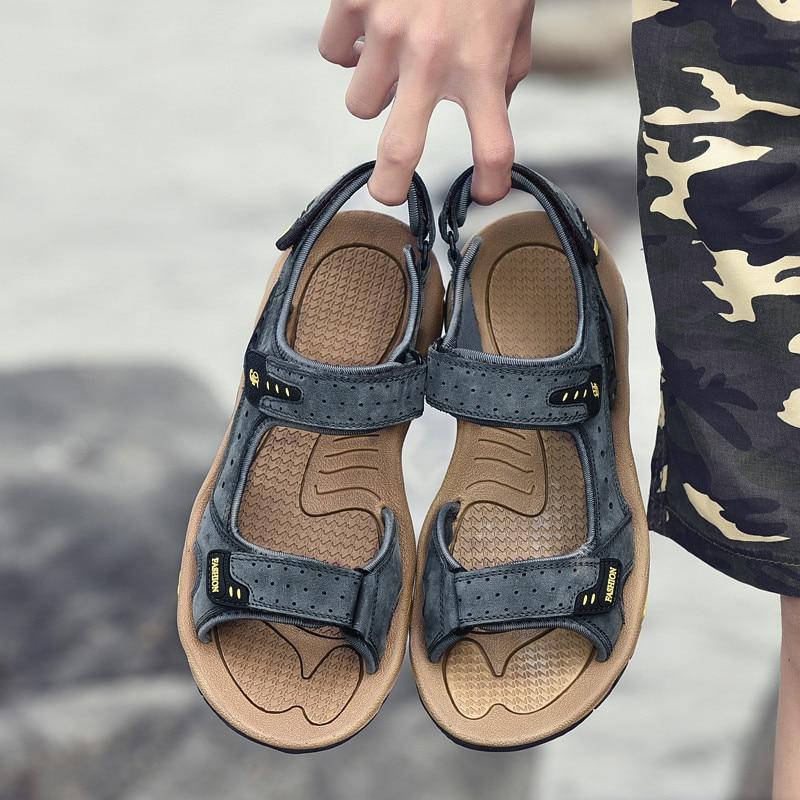 Sandálias dos Homens ao ar Sandálias de Couro Gladiador para Sandalias Hombre de Cuero Livre Genuíno Verão Grande Sandles Toe Loop