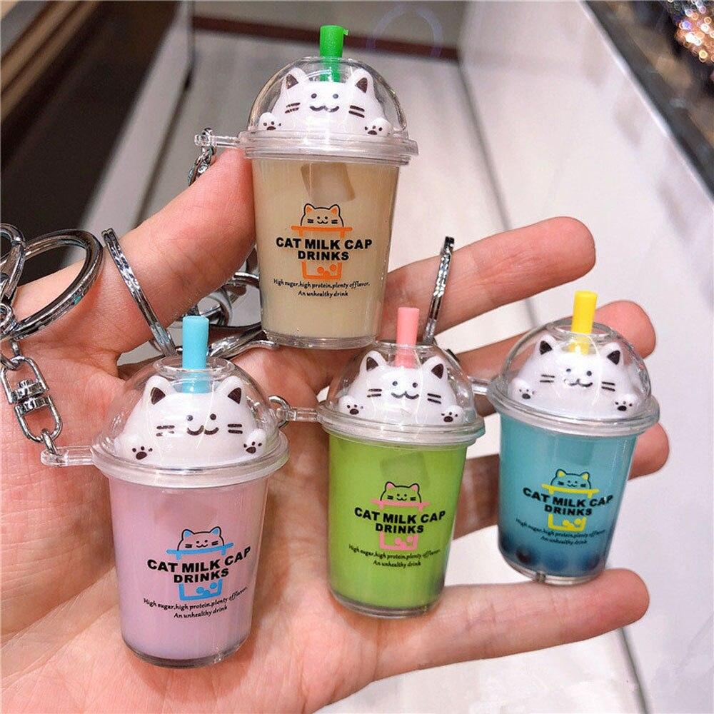 New Keychain Cartoon Cat Car Keychain Mini Milk Tea Cup Liquid Crystal Quicksand Sequin Key Ring Bag Pendant for Women