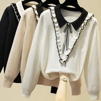 ljsxls sueter mujer invierno 2020 autumn long sleeve sweater women ruffles bow knitted sweaters winter pullovers pull femme