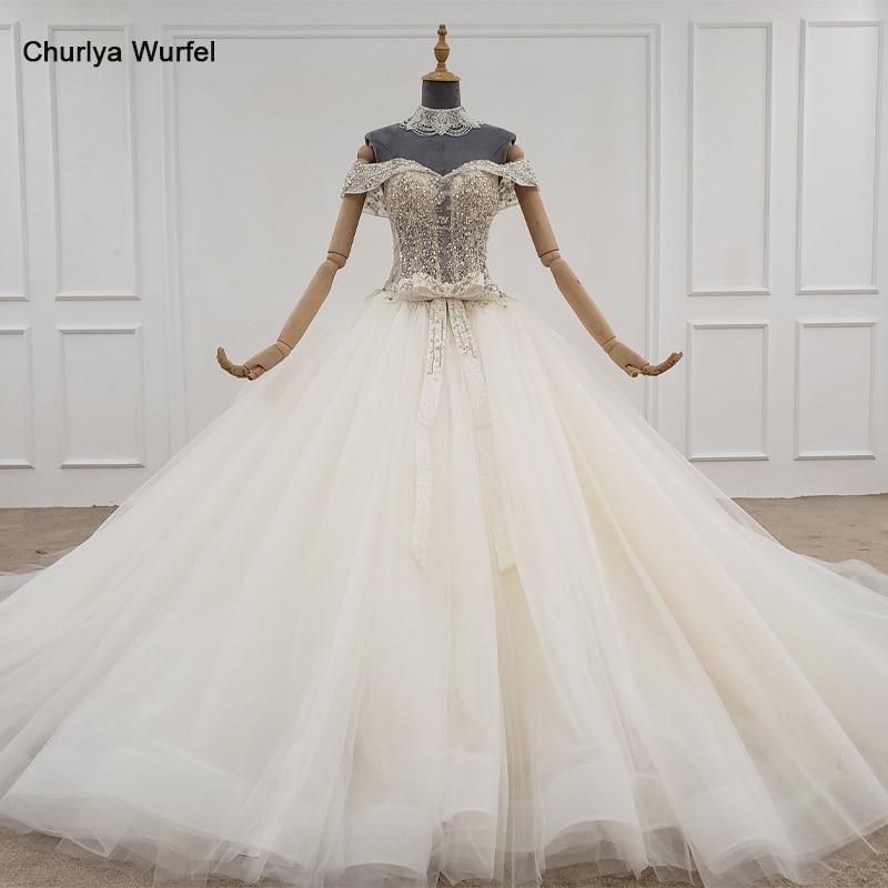 HTL1103-vestido Boda de Princesa de fiesta para niña, vestido de novia con cuentas de cristal con collar y cadena, vestido de lujo bohemio