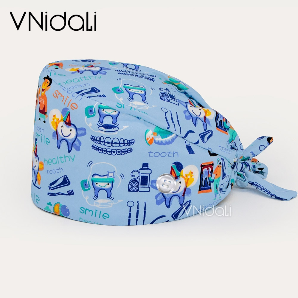 with buttons teeth pattern unisex Scrubs Caps cartoon printing Protect your oral tooth Scrub cap bea