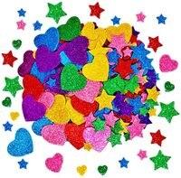 260 шт., украшения для дома, звезды, красочные блестящие наклейки из пеноматериала, самоклеящиеся звезды, в форме сердца, наклейки, детские тов...