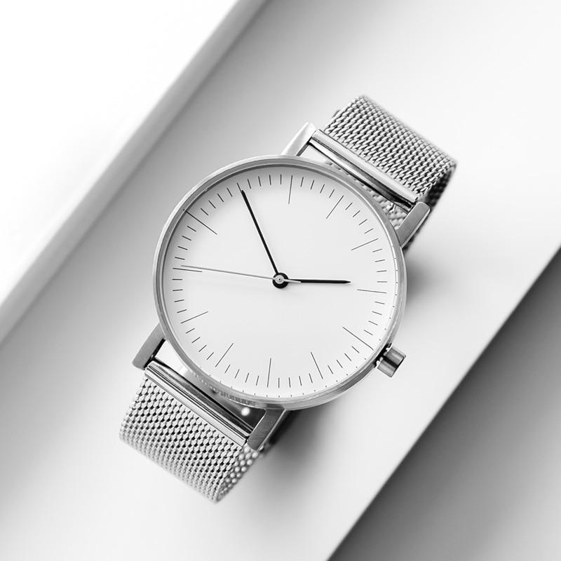 BIJOUONE رقيقة جدا الصلب حزام الفنية مقاوم للماء الحد الأدنى للرجال ساعة كوارتز باوهاوس ساعة نسائية