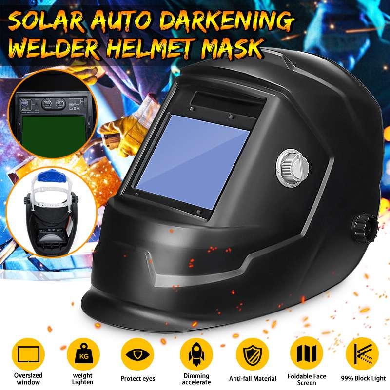 Solar Powered Auto Darkening Welding Helmet Adjustable Shade Range DIN 9-13/Rest DIN 4 Large View Area Arc Tig Mig Welder Mask