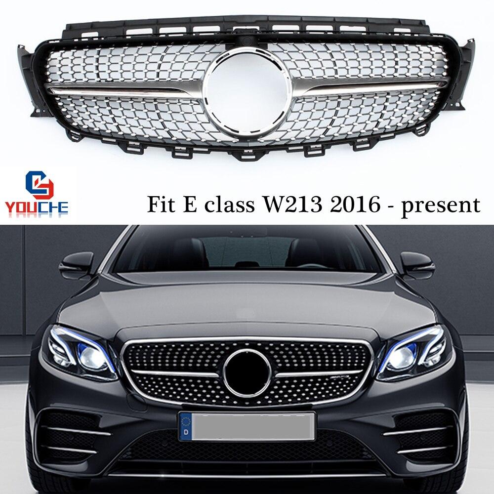 Parrilla de plata W213 Diamonds para Mercedes W213 E clase 2016-presente E250 E300 E350 parachoques delantero parrilla sedán de malla