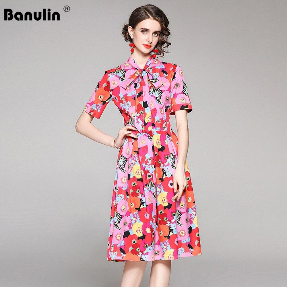 Banulin جديد 2021 موضة المدرج فستان الشاطئ الصيف المرأة قصيرة الأكمام القوس الرقبة الأزهار طباعة السيدات ألف خط فستان ميدي