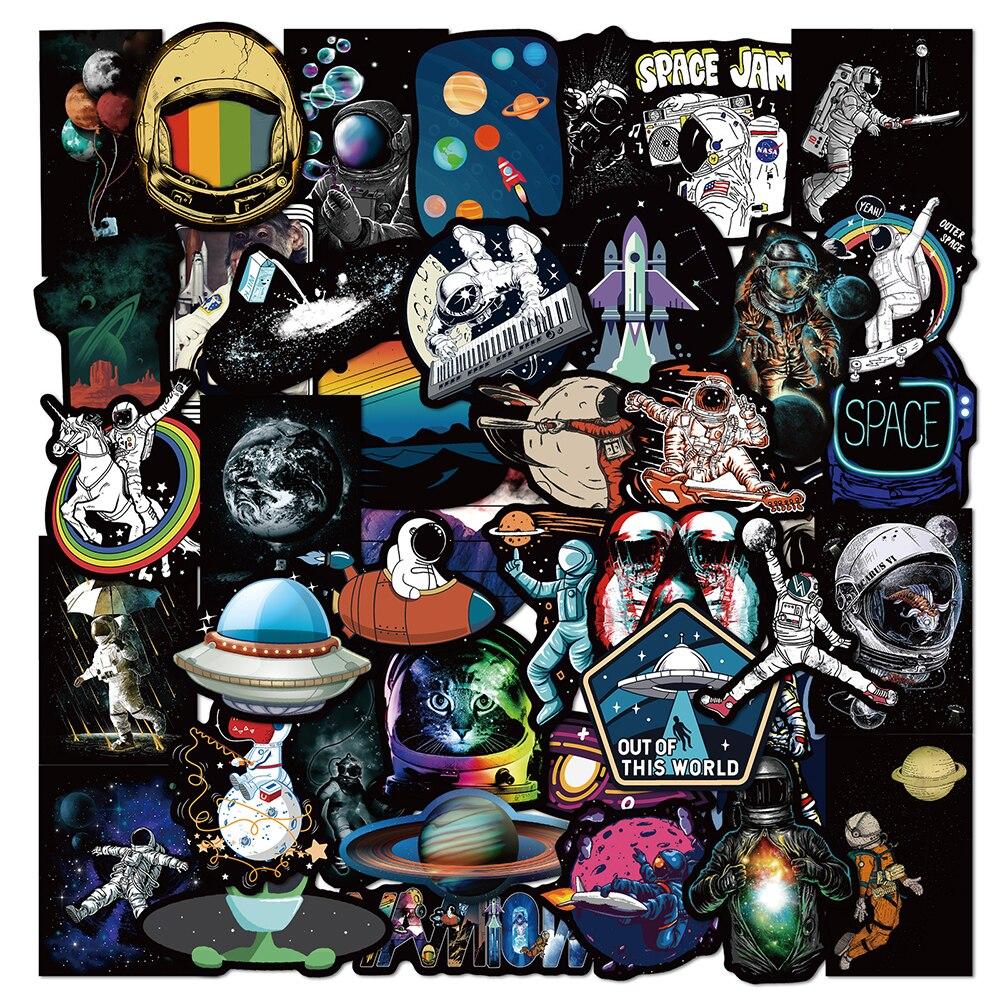 Наклейки на тему космоса, астронавта, граффити, мультфильм «сделай сам», скейтборд, холодильник, мотоцикл, чемодан, ПВХ водонепроницаемые наклейки, игрушки, 10/30/50 шт.
