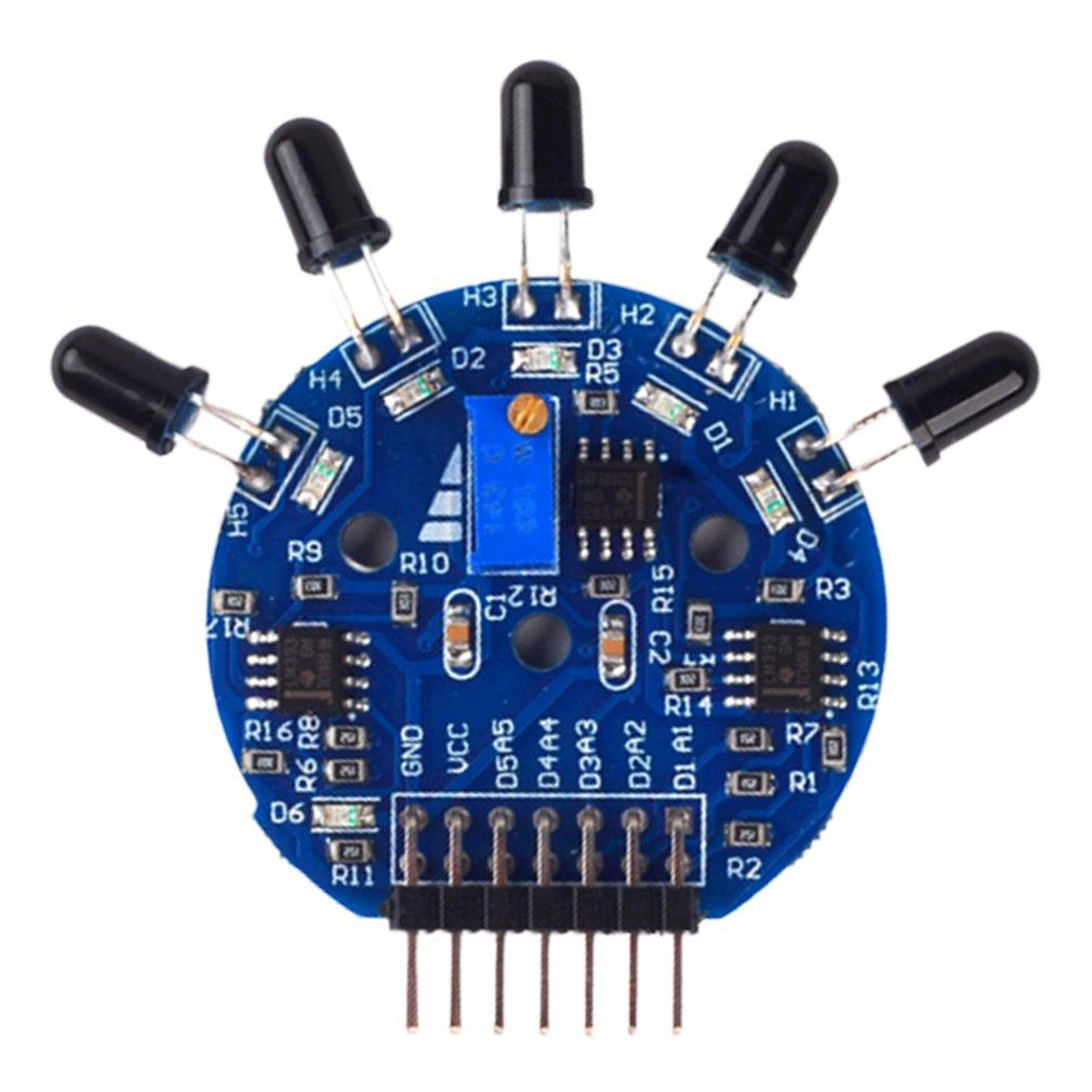Пятипозиционный модуль датчика пламени, аналоговый, цифровой, двойной выход, огнетушительный робот, синий
