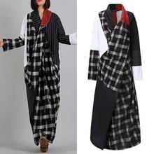 Oversized Asymmetrical Dress Woman Spring Sundress ZANZEA Casual Long Sleeve Plaid Vestidos Female V-Neck Patchwork Retro Robe