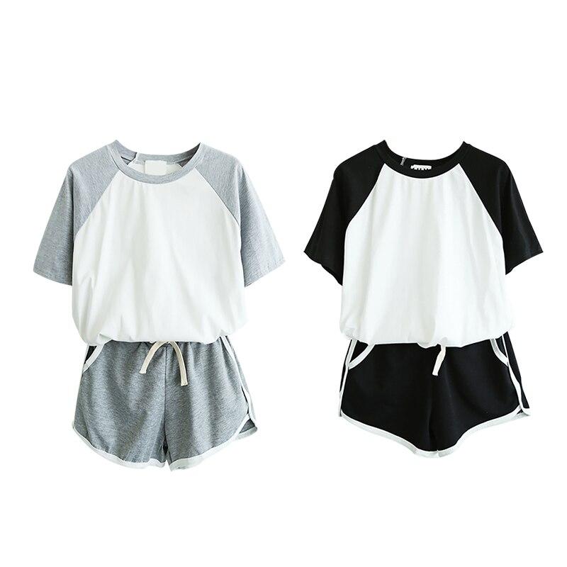 Pijamas de algodón para mujer, conjunto de pantalones cortos, conjunto de pijamas de verano sueltos de manga corta, pantalones cortos, Bonito traje de pijama