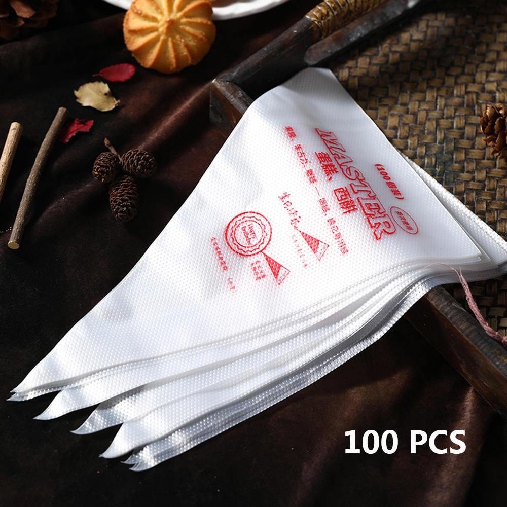 100pcs Disposable Pastry Bag Fondant Baking Tool Piping Bag Icing Nozzle Fondant Cake Decorating Pastry Tip Tool