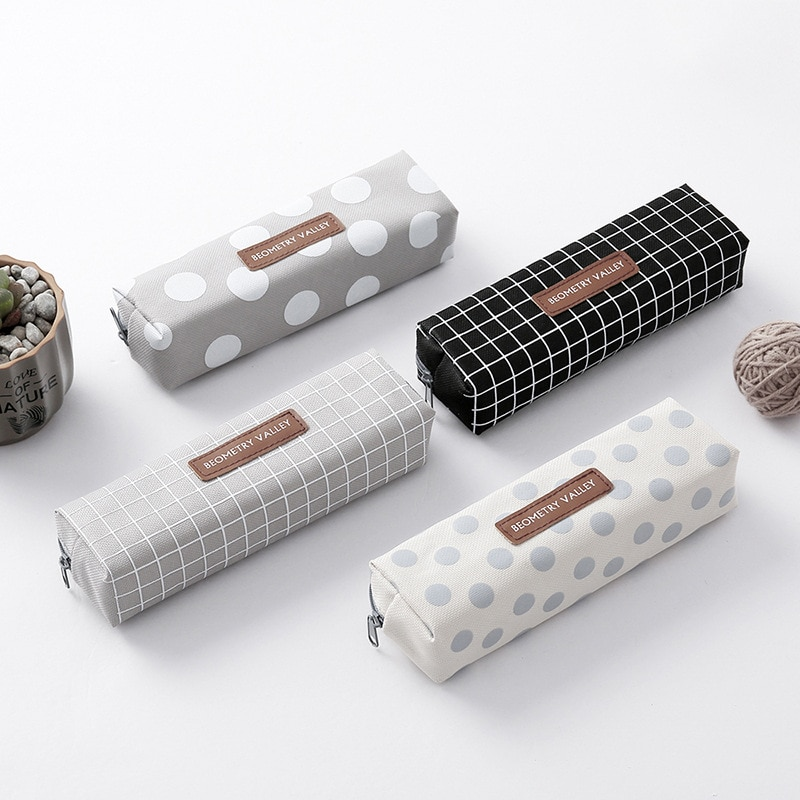 Fashion Dot Lattice Pencil Case Cute Canvas pencil bag Stationery Pouch for kids gift School Supplies Zakka escolar