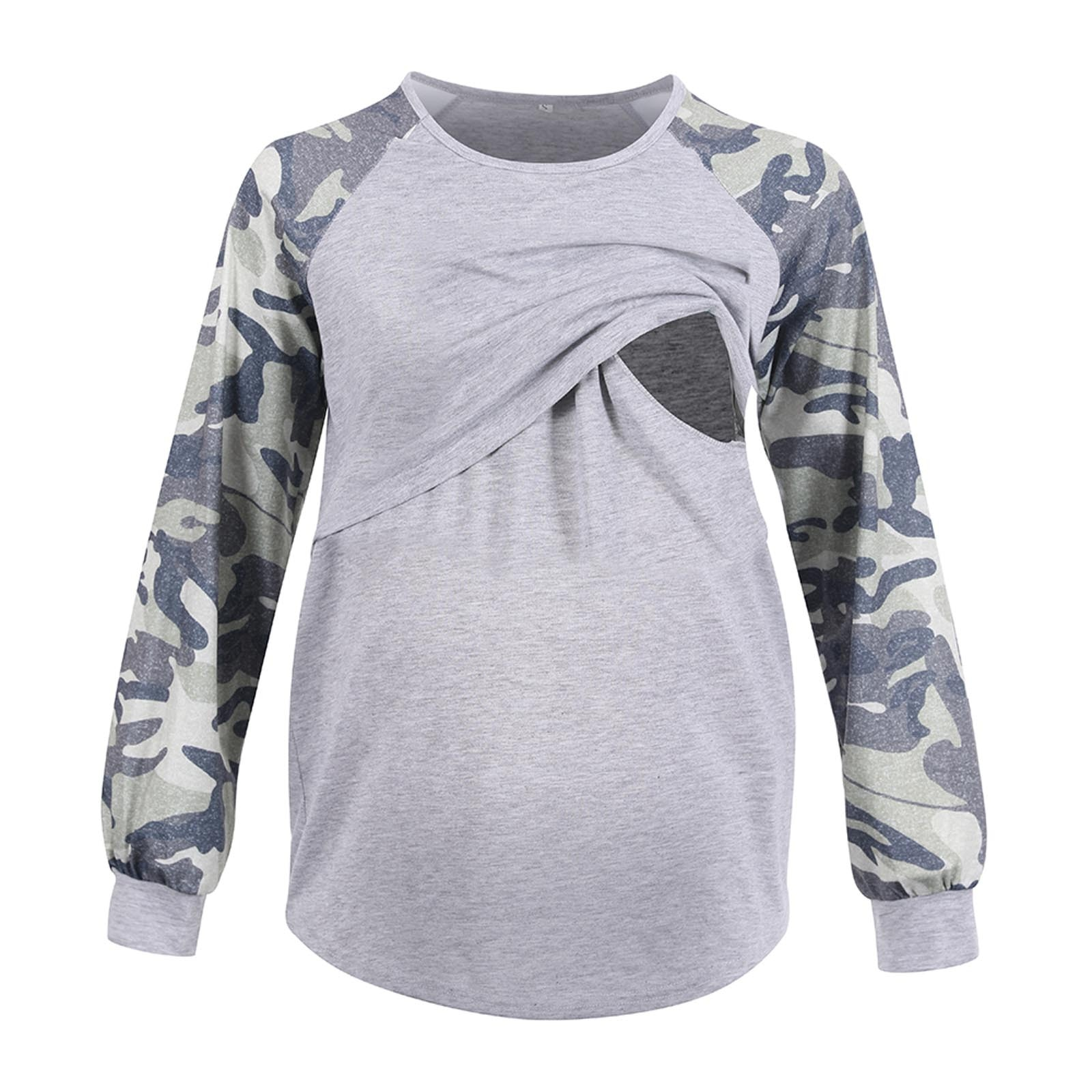 Pregnancy T Shirt Spring And Autumn Color Matching Shoulder Sleeves Breastfeeding T-Shirt Long Sleeve Loose S-XXl Maternity Tops