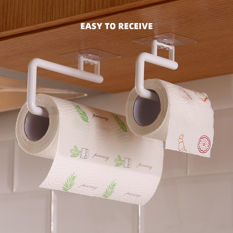 Kitchen Paper Roll Holder Towel Hanger Rack Bar Cabinet Rag Hanging Holder Bathroom Organizer Shelf Toilet Paper Holders Rack self adhesive roll paper holder bathroom toilet paper holder kitchen towel holder rack tissue hanger rack hanging organizer