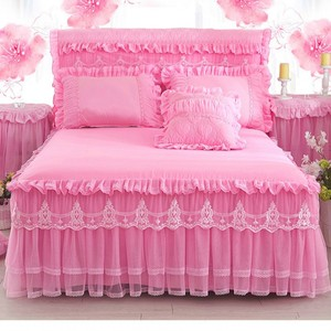 Romantic Pink Lace Ruffle Princess Bedding Bed Skirt Pillowcases Solid Color Mattress Cover Bedspreads Sheet Home Decoration