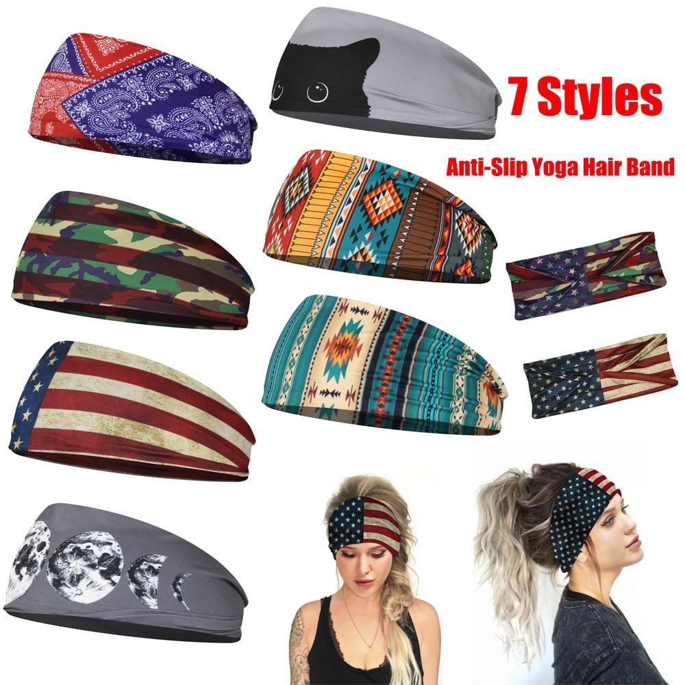 1 PC Cat Flag Pattern Yoga Elastic Hair Bands Sports Headband Anti-Slip Slim Sweat Bands for Gym Fitness Fashion Hairband Turban
