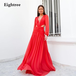 Eightree Red Long Prom Dresses A Line Formal Evening Party Night Gowns V Neck Long Sleeves vestidos festa Graduation Gown