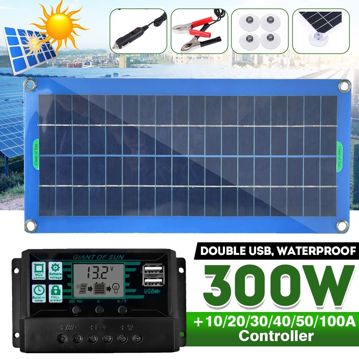 300W Solar Panel Kit Complete Dual 12/5V DC USB With 60A/100A Solar Controller Solar Cells for Car Yacht RV Battery Charger