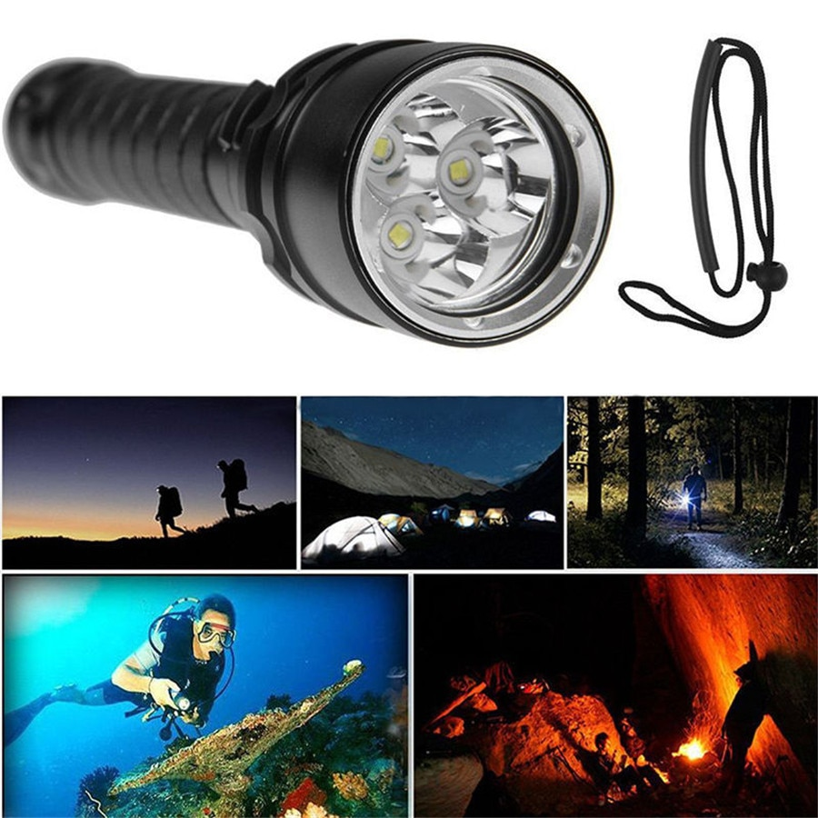 8000LM linterna de buceo 3x XML L2 LED de buceo bajo el agua 100M linterna impermeable haz súper fuerte W