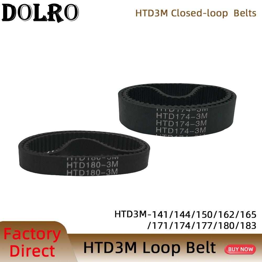 Arc htd 3m correia dentada c = 141 144 150 162 165 171 174 177 180 183 largura 6/9/10/15/20mm rubbe circuito fechado passo síncrono 3mm