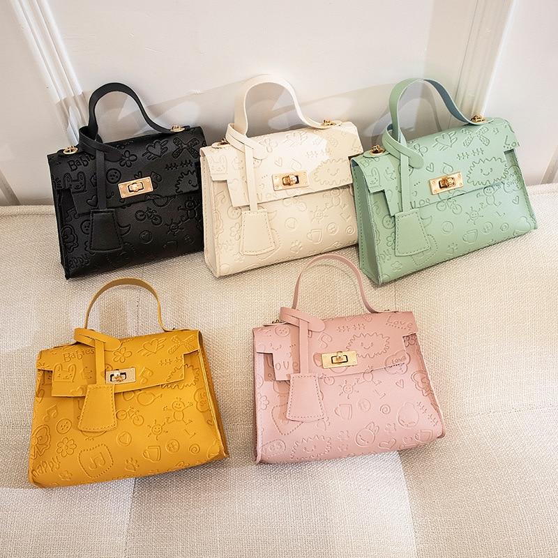 OkoLive SB0054 Korean Lock Mini Square Bag Women Flap Bag Color Stitching Wild Shoulder Bag Student Mobile Phone Bag For Ladies