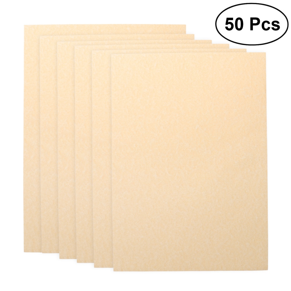 50Pcs A4 Paper Sheets Parchment Retro Paper for Certificate and Diploma 90g (Light Brown)