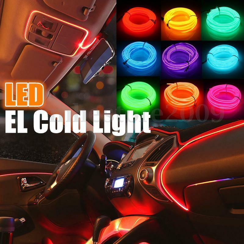 1~5M Neon LED Light Glow Flat Edge EL Wire String Strip Rope Tube Light Car Interior Atmosphere Deco